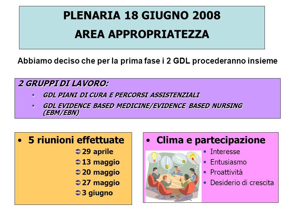 PLENARIA 18 GIUGNO 2008 AREA APPROPRIATEZZA