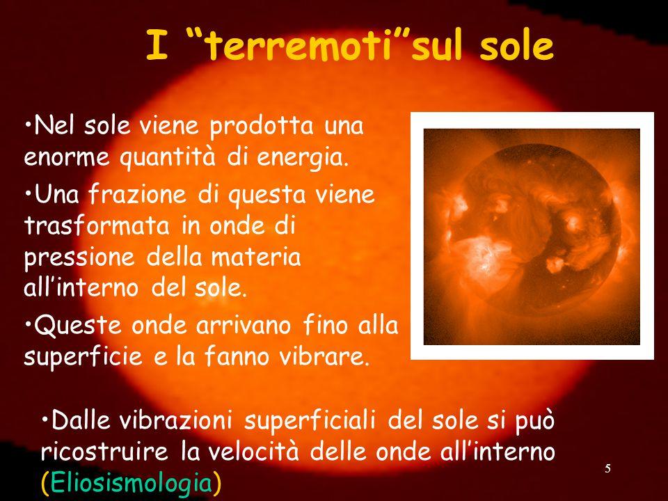 I terremoti sul sole Nel sole viene prodotta una enorme quantità di energia.