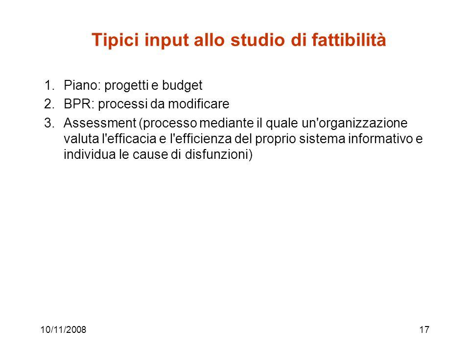 Tipici input allo studio di fattibilità