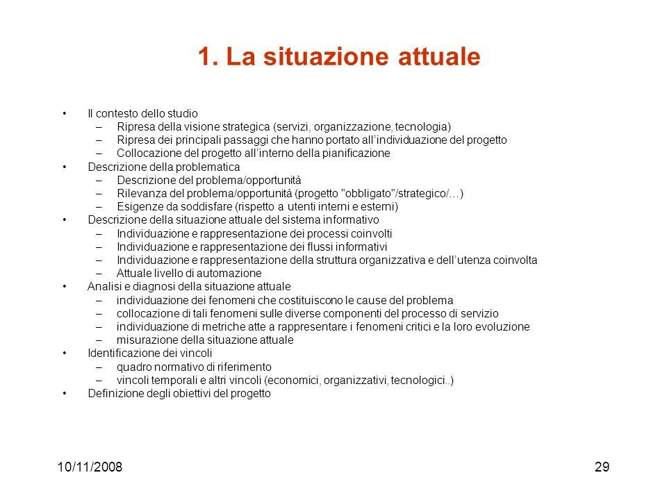 1. La situazione attuale 10/11/2008 Il contesto dello studio