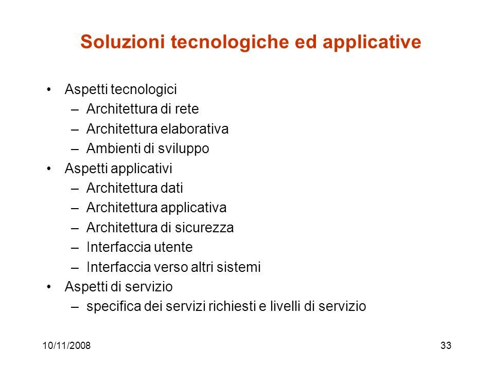 Soluzioni tecnologiche ed applicative