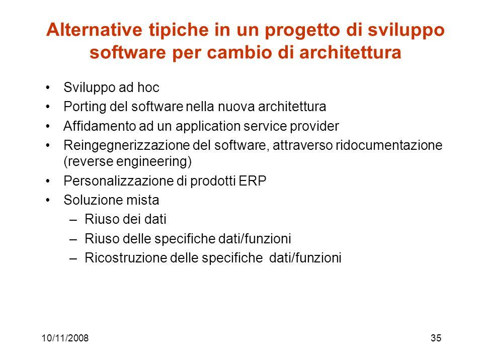 Alternative tipiche in un progetto di sviluppo software per cambio di architettura
