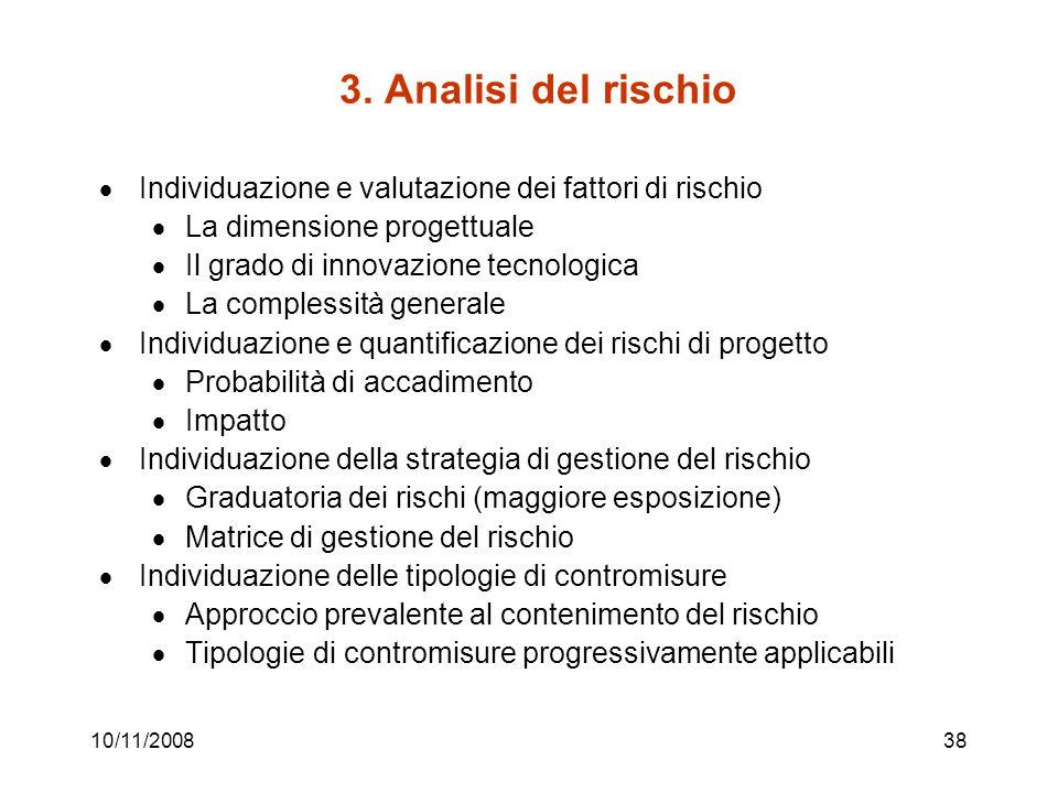 3. Analisi del rischio Individuazione e valutazione dei fattori di rischio. La dimensione progettuale.