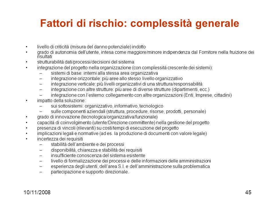 Fattori di rischio: complessità generale