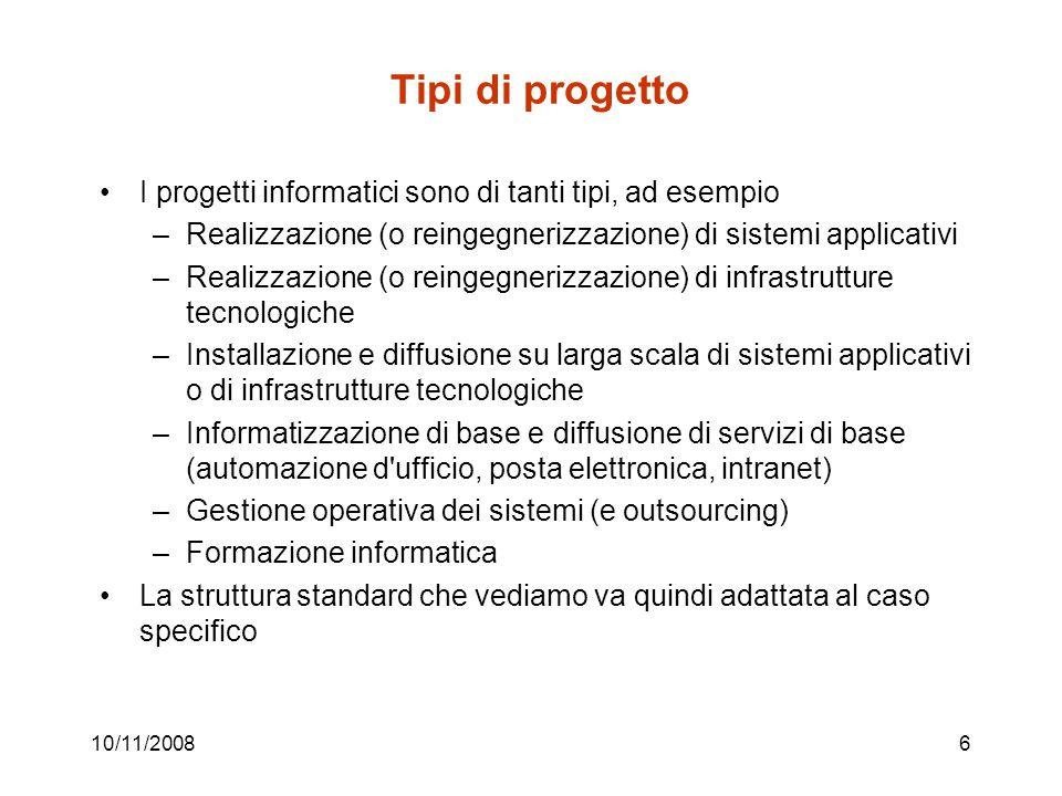 Tipi di progetto I progetti informatici sono di tanti tipi, ad esempio