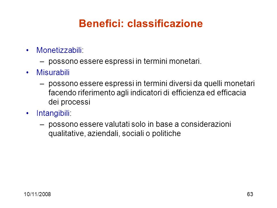 Benefici: classificazione
