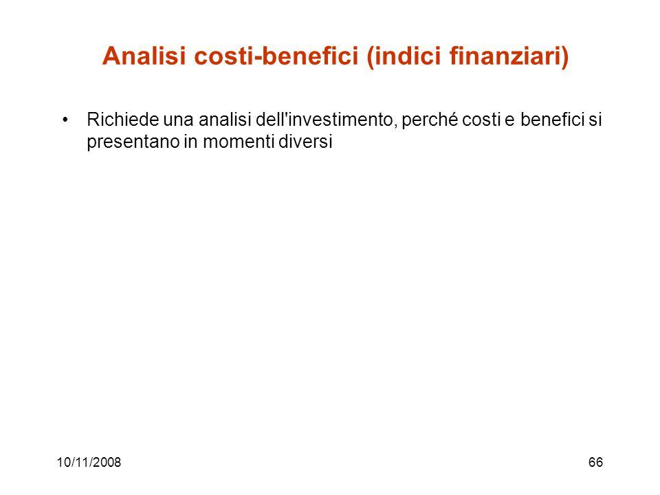 Analisi costi-benefici (indici finanziari)
