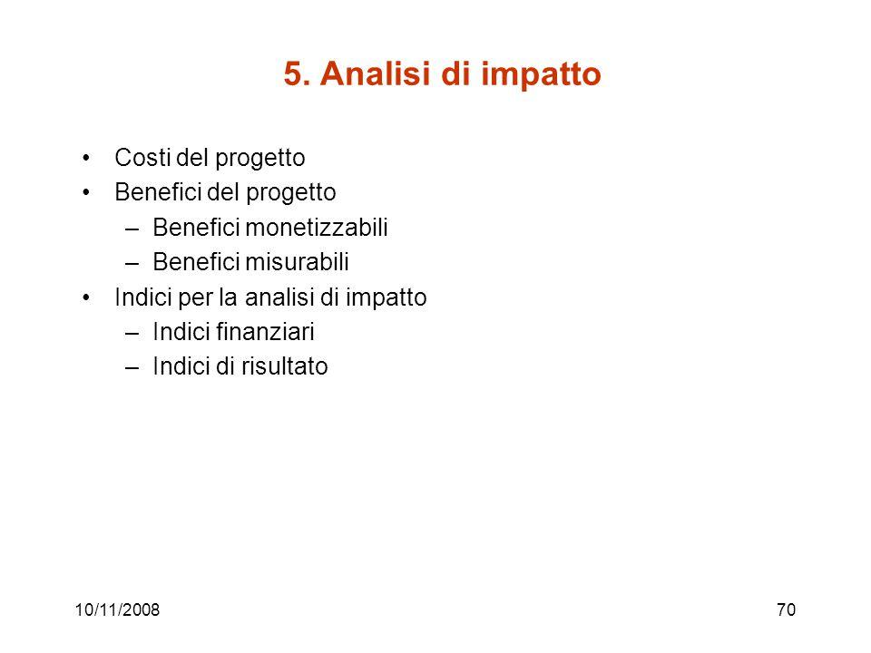 5. Analisi di impatto Costi del progetto Benefici del progetto