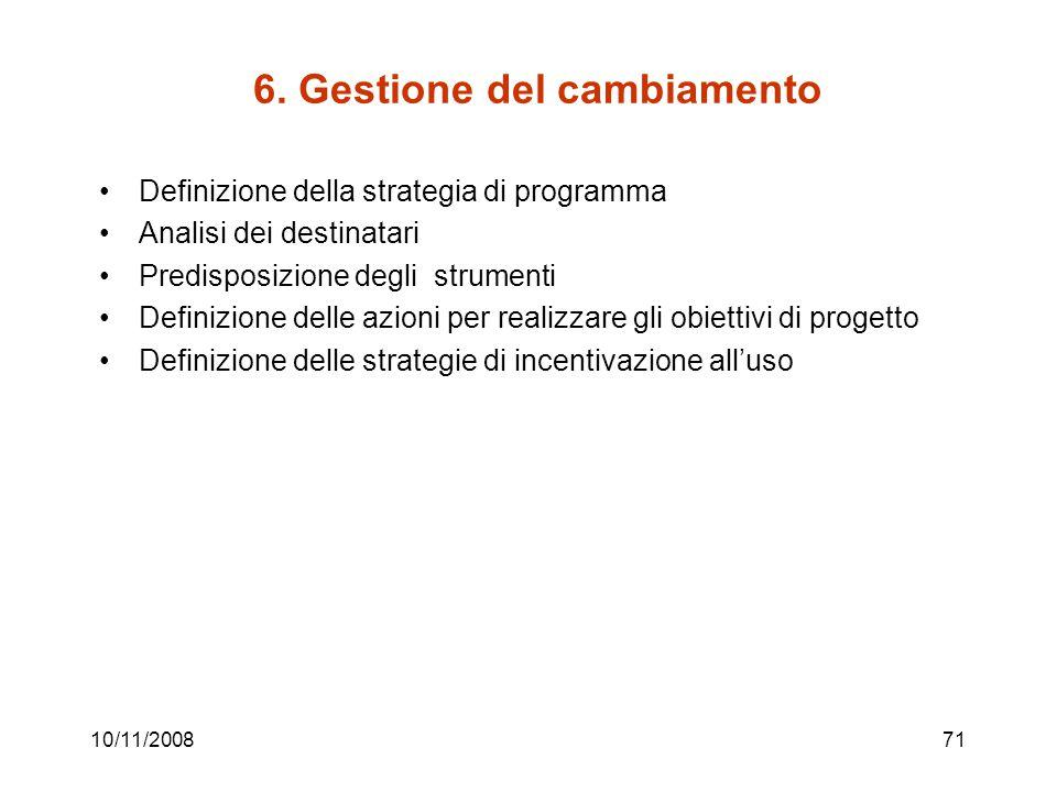 6. Gestione del cambiamento