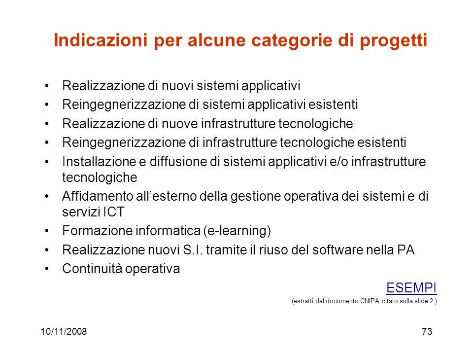 Indicazioni per alcune categorie di progetti