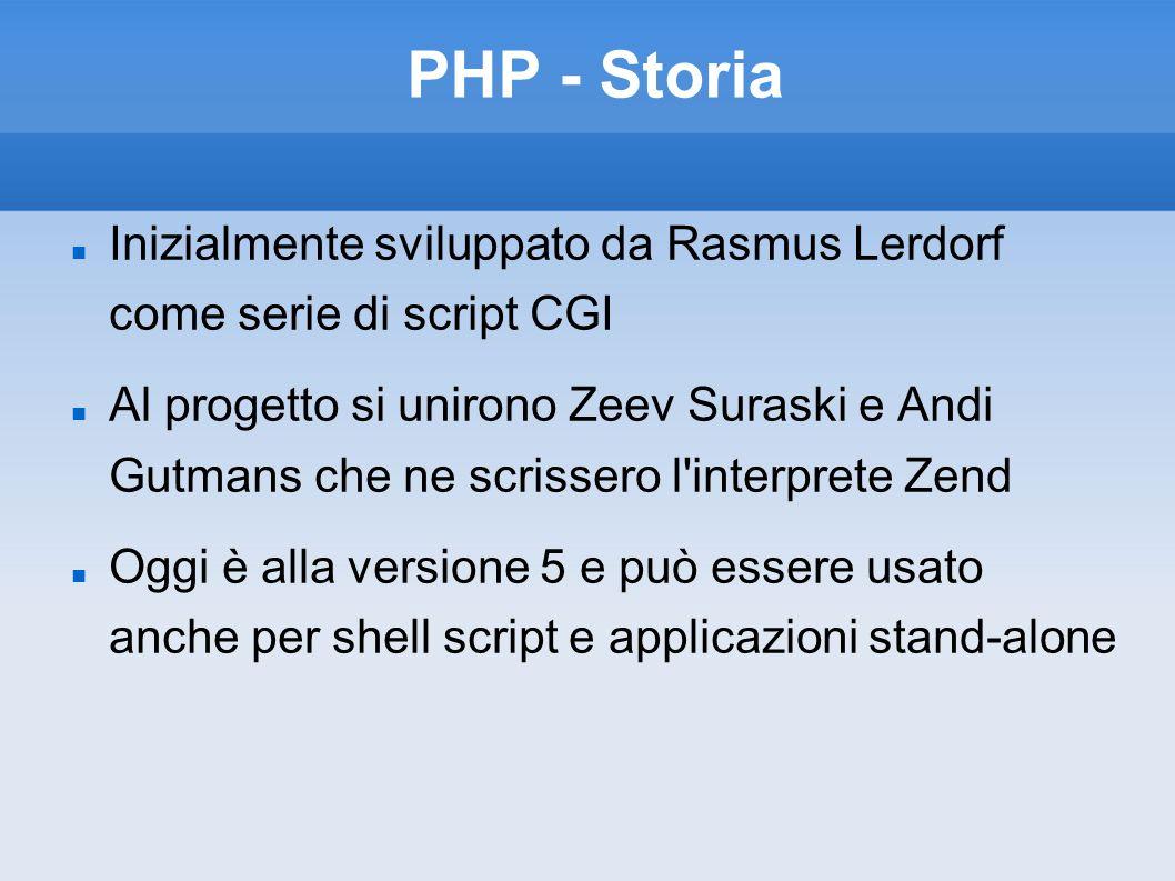 PHP - Storia Inizialmente sviluppato da Rasmus Lerdorf come serie di script CGI.