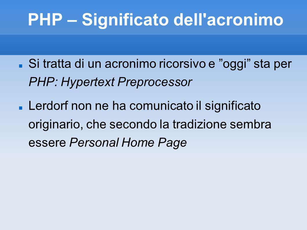 PHP – Significato dell acronimo