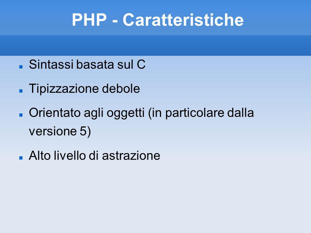 PHP - Caratteristiche Sintassi basata sul C Tipizzazione debole