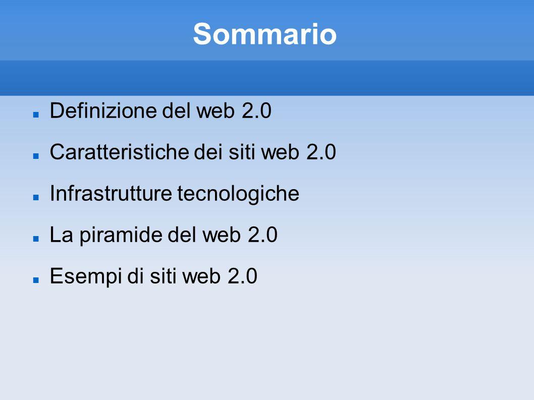 Sommario Definizione del web 2.0 Caratteristiche dei siti web 2.0