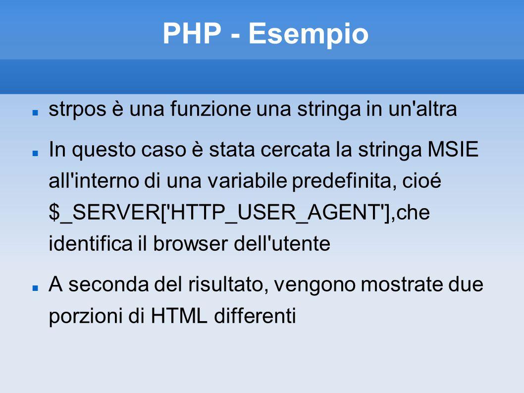 PHP - Esempio strpos è una funzione una stringa in un altra