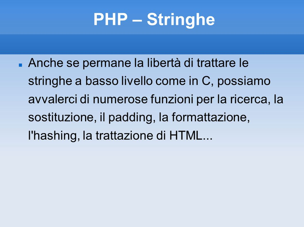 PHP – Stringhe