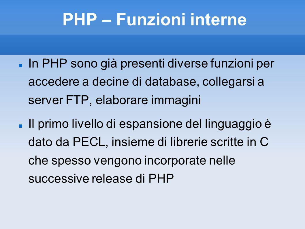 PHP – Funzioni interne In PHP sono già presenti diverse funzioni per accedere a decine di database, collegarsi a server FTP, elaborare immagini.