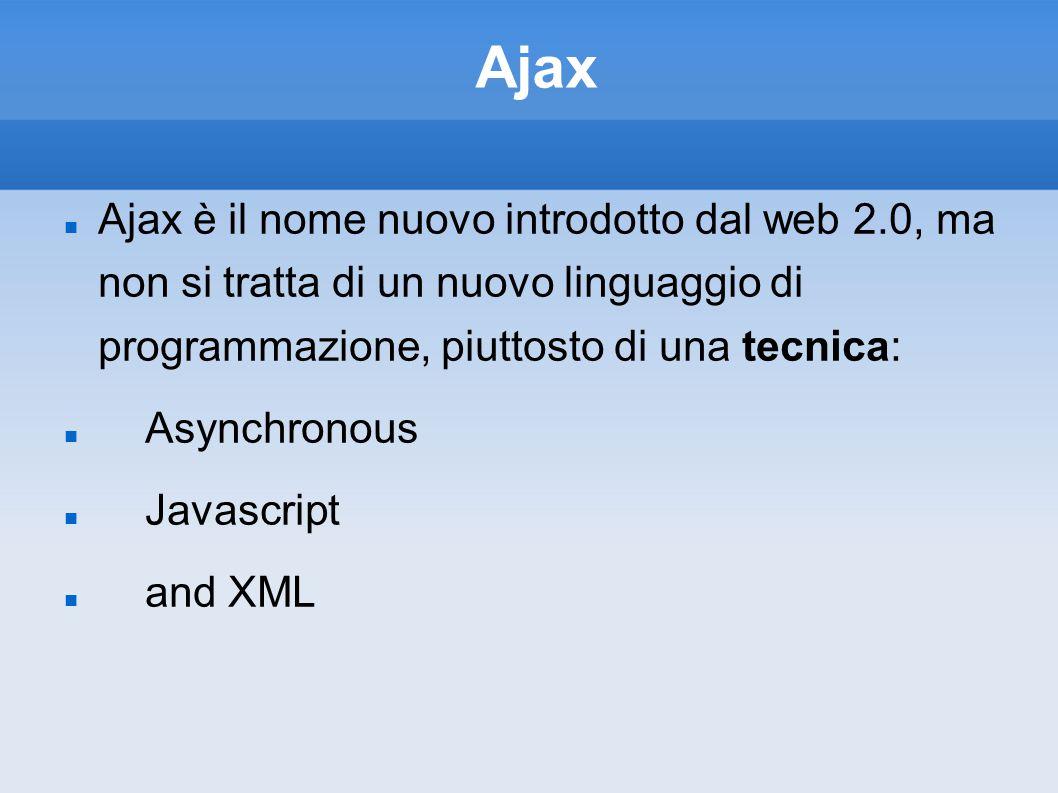 Ajax Ajax è il nome nuovo introdotto dal web 2.0, ma non si tratta di un nuovo linguaggio di programmazione, piuttosto di una tecnica: