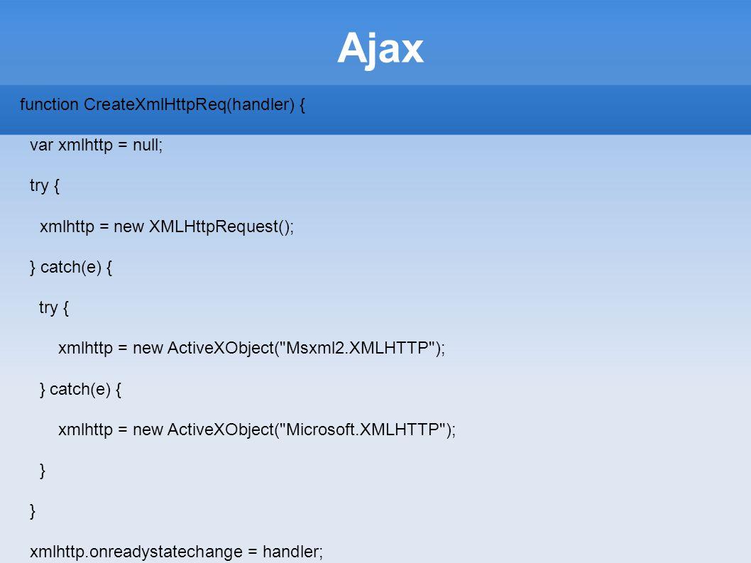 Ajax function CreateXmlHttpReq(handler) { var xmlhttp = null; try {