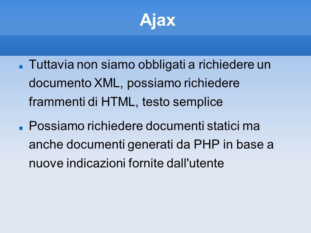 Ajax Tuttavia non siamo obbligati a richiedere un documento XML, possiamo richiedere frammenti di HTML, testo semplice.