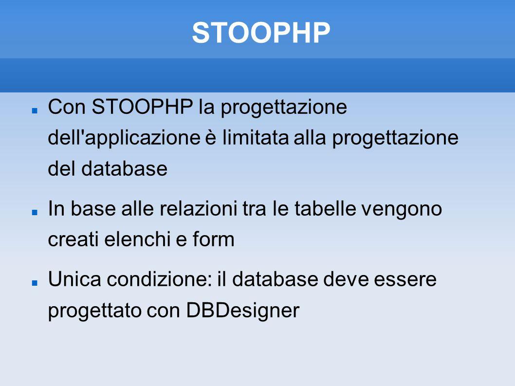 STOOPHP Con STOOPHP la progettazione dell applicazione è limitata alla progettazione del database.