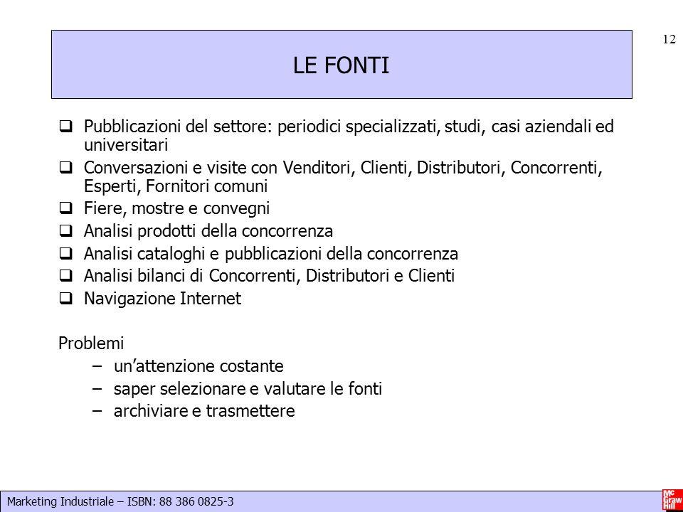 LE FONTI Pubblicazioni del settore: periodici specializzati, studi, casi aziendali ed universitari.