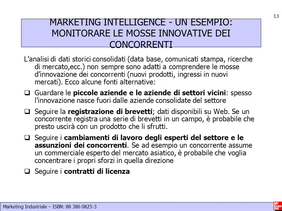 MARKETING INTELLIGENCE - UN ESEMPIO: MONITORARE LE MOSSE INNOVATIVE DEI CONCORRENTI