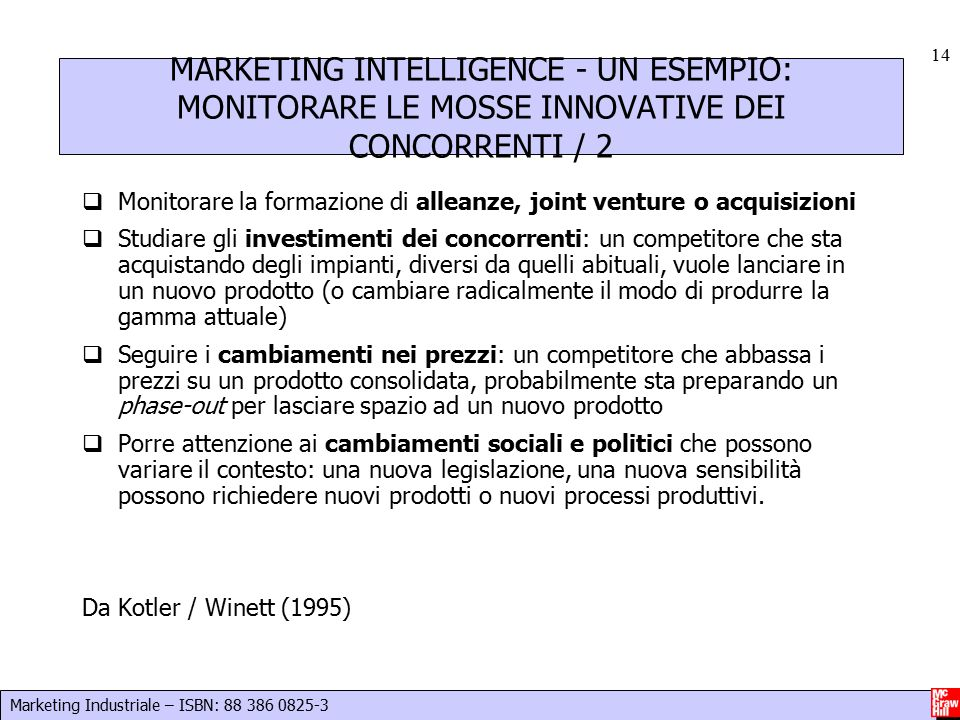 MARKETING INTELLIGENCE - UN ESEMPIO: MONITORARE LE MOSSE INNOVATIVE DEI CONCORRENTI / 2