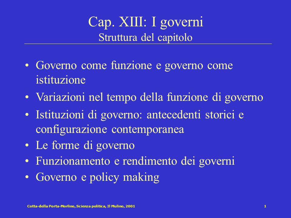 Cap. XIII: I governi Struttura del capitolo
