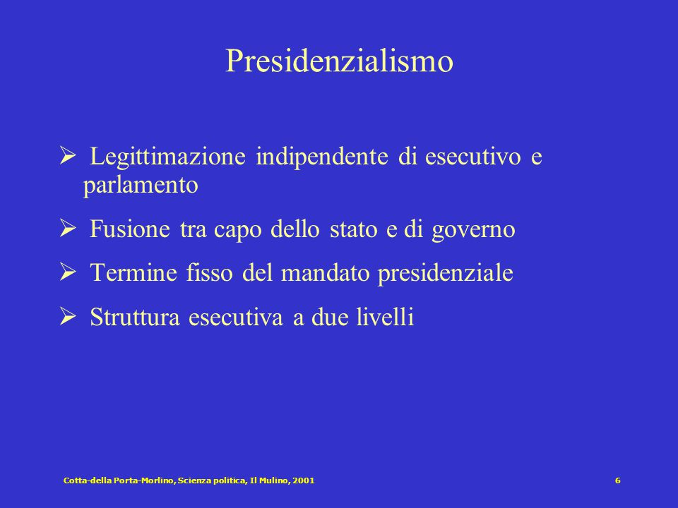 Presidenzialismo Legittimazione indipendente di esecutivo e parlamento