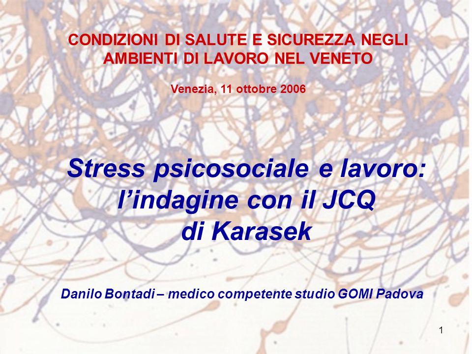 Stress psicosociale e lavoro: l'indagine con il JCQ di Karasek