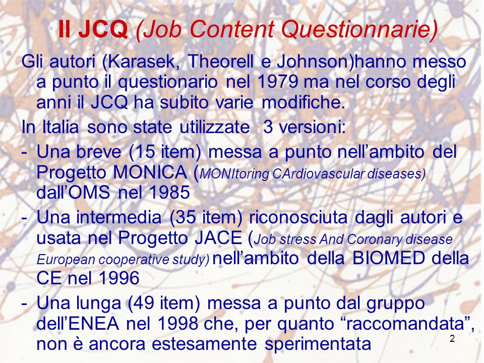 Il JCQ (Job Content Questionnarie)