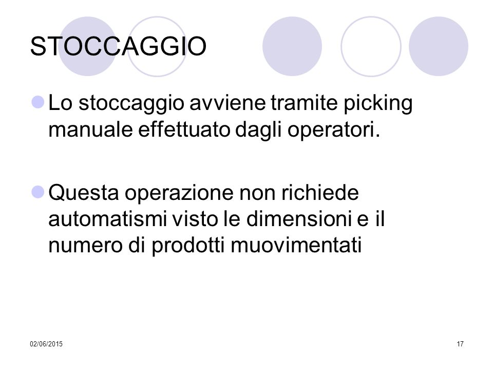 STOCCAGGIO Lo stoccaggio avviene tramite picking manuale effettuato dagli operatori.