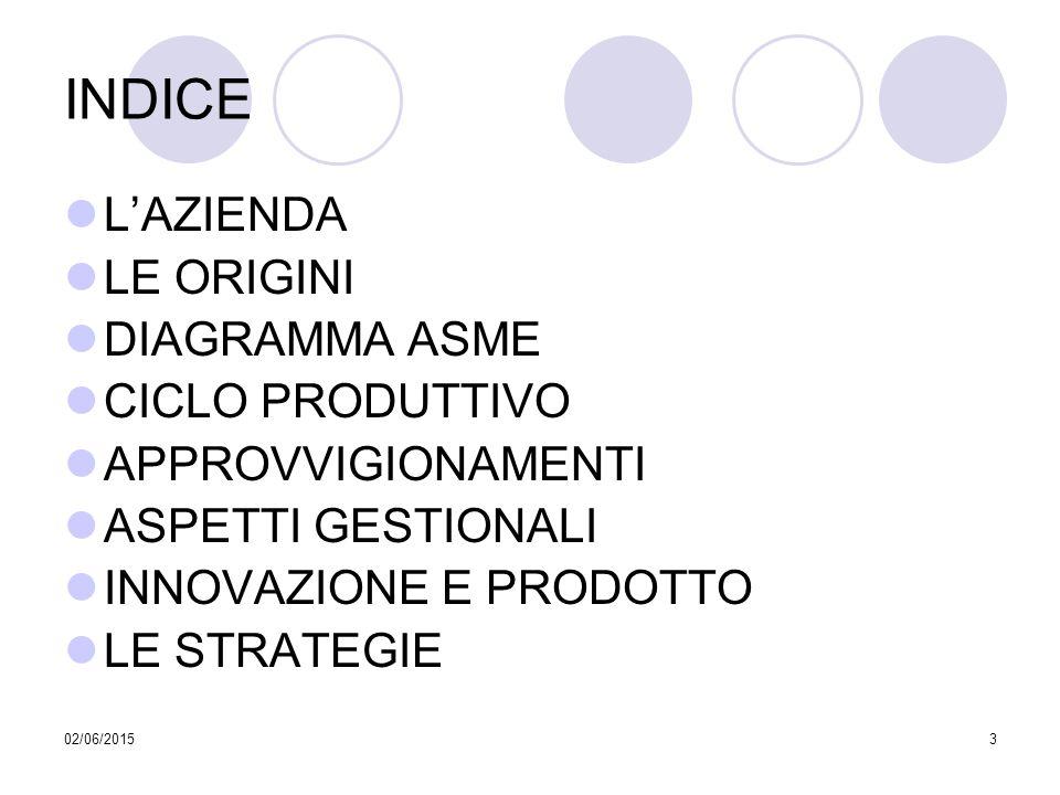 INDICE L'AZIENDA LE ORIGINI DIAGRAMMA ASME CICLO PRODUTTIVO