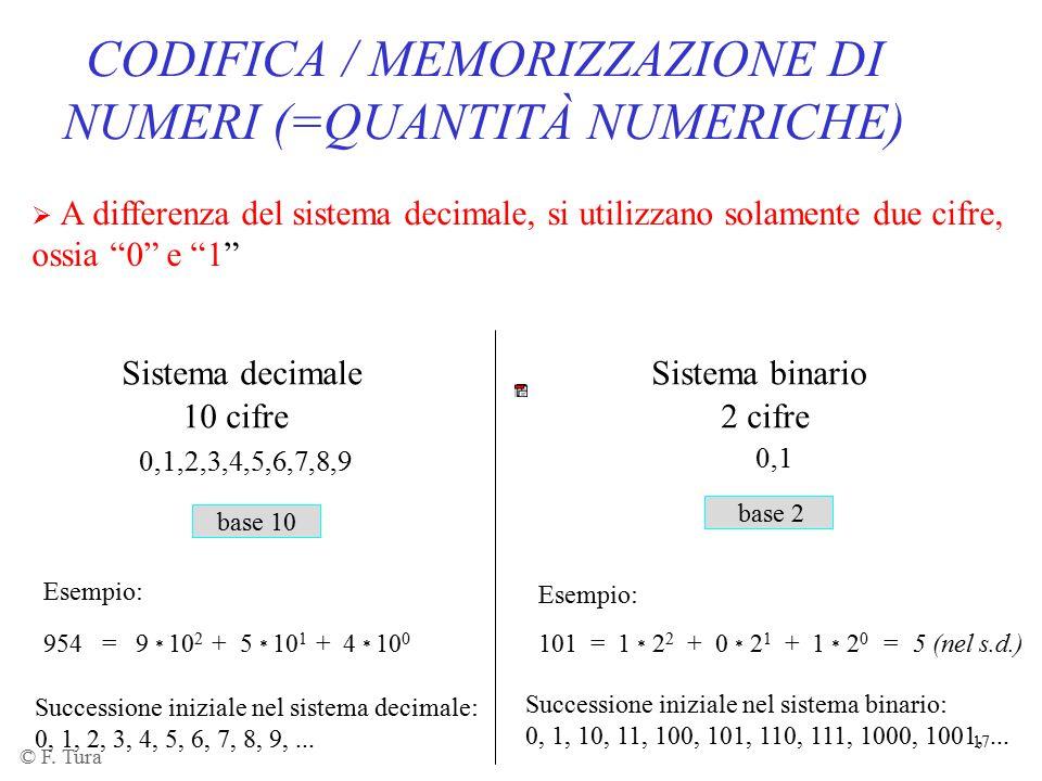 CODIFICA / MEMORIZZAZIONE DI NUMERI (=QUANTITÀ NUMERICHE)