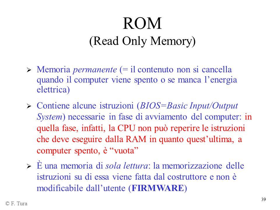 ROM (Read Only Memory) Memoria permanente (= il contenuto non si cancella quando il computer viene spento o se manca l'energia elettrica)