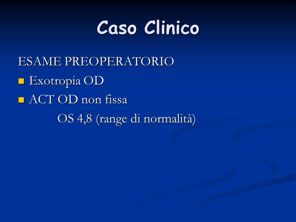Caso Clinico ESAME PREOPERATORIO Exotropia OD ACT OD non fissa