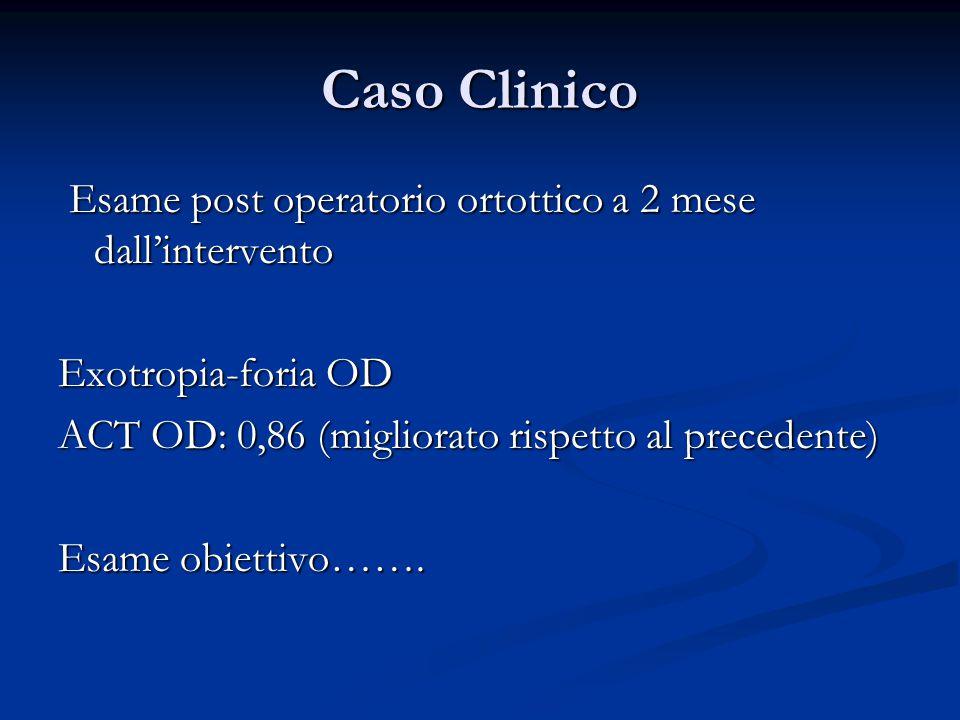 Caso Clinico Esame post operatorio ortottico a 2 mese dall'intervento
