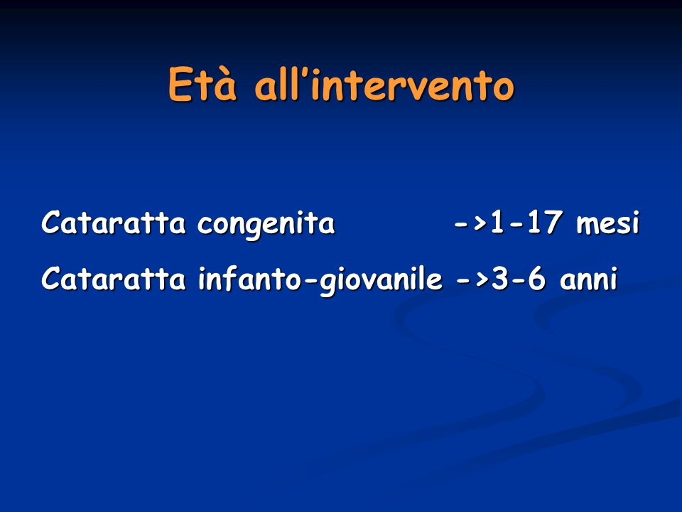 Età all'intervento Cataratta congenita ->1-17 mesi
