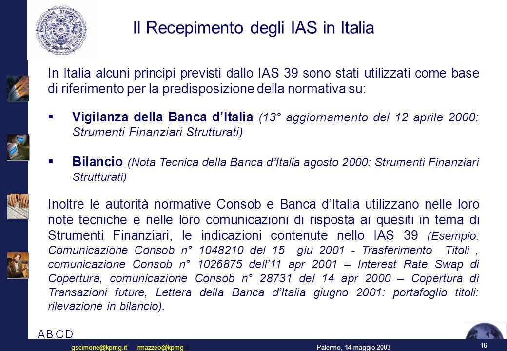 Classificazione 4 categorie di strumenti finanziari (IAS p 10)