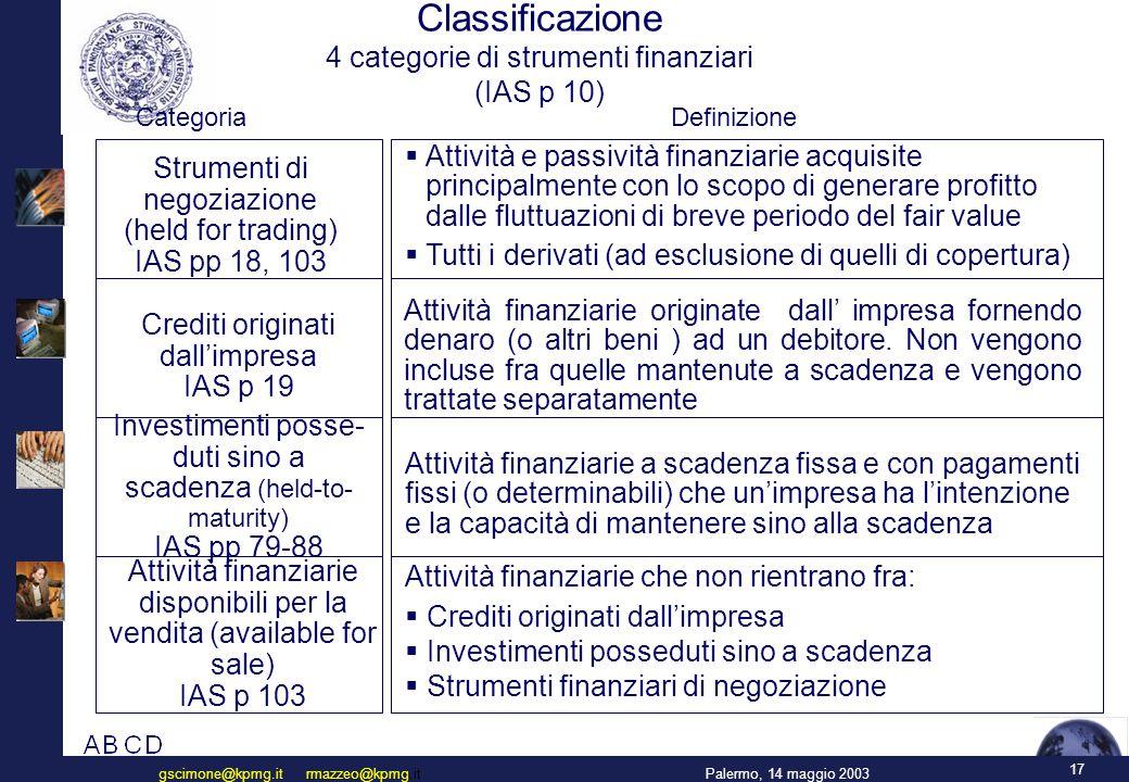 IAS 39 cambierà in modo significativo la contabilizzazione degli strumenti finanziari