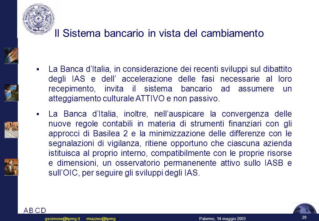 Il Sistema bancario in vista del cambiamento