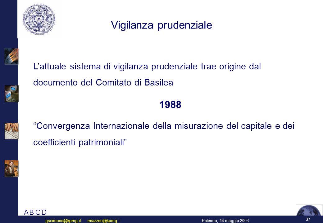 Vigilanza prudenziale: l'attuale regolamentazione