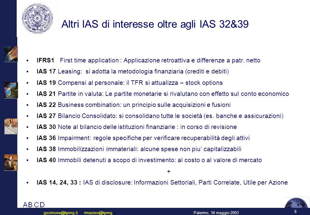 Calendario di alcuni progetti IASB (2002-2004)