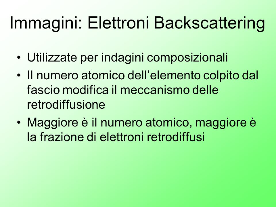Immagini: Elettroni Backscattering