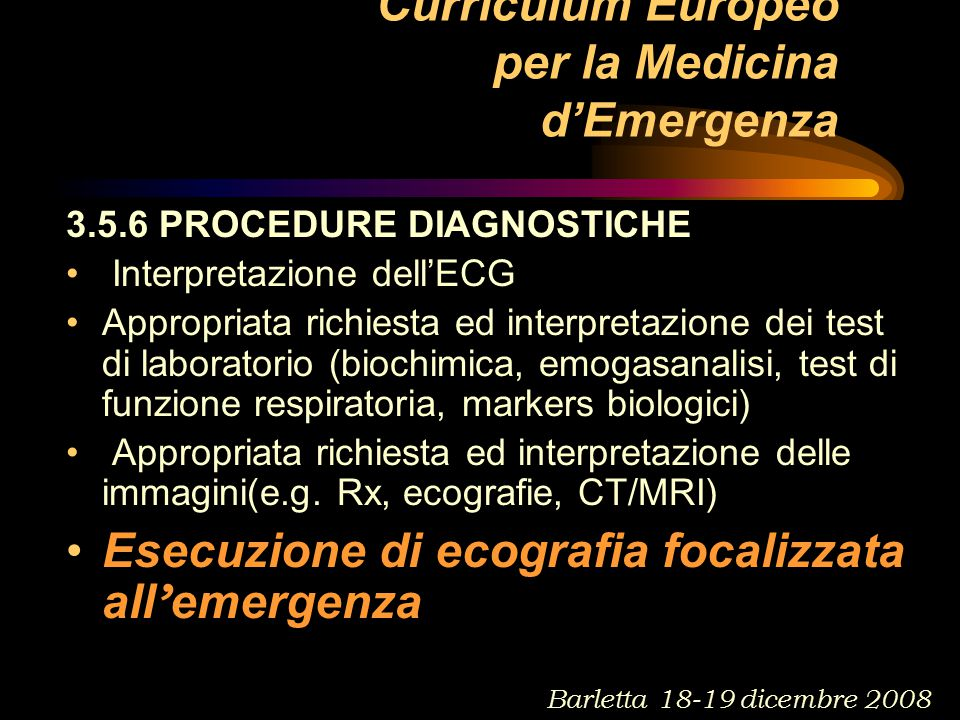Curriculum Europeo per la Medicina d'Emergenza