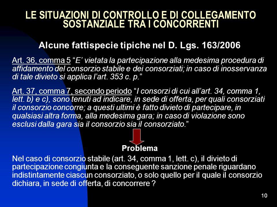 Alcune fattispecie tipiche nel D. Lgs. 163/2006