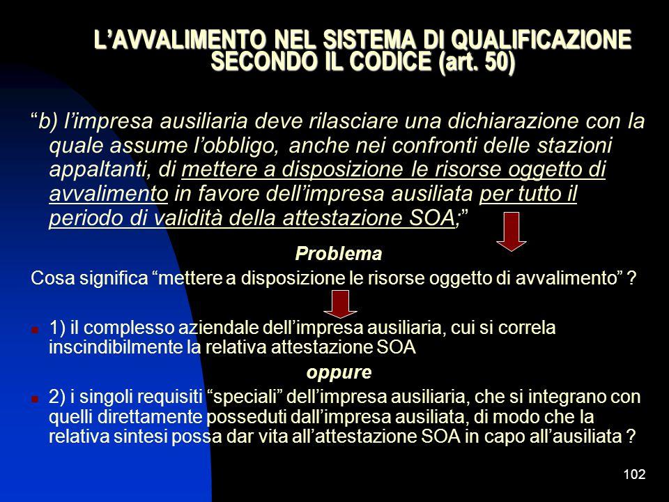 L'AVVALIMENTO NEL SISTEMA DI QUALIFICAZIONE SECONDO IL CODICE (art. 50)