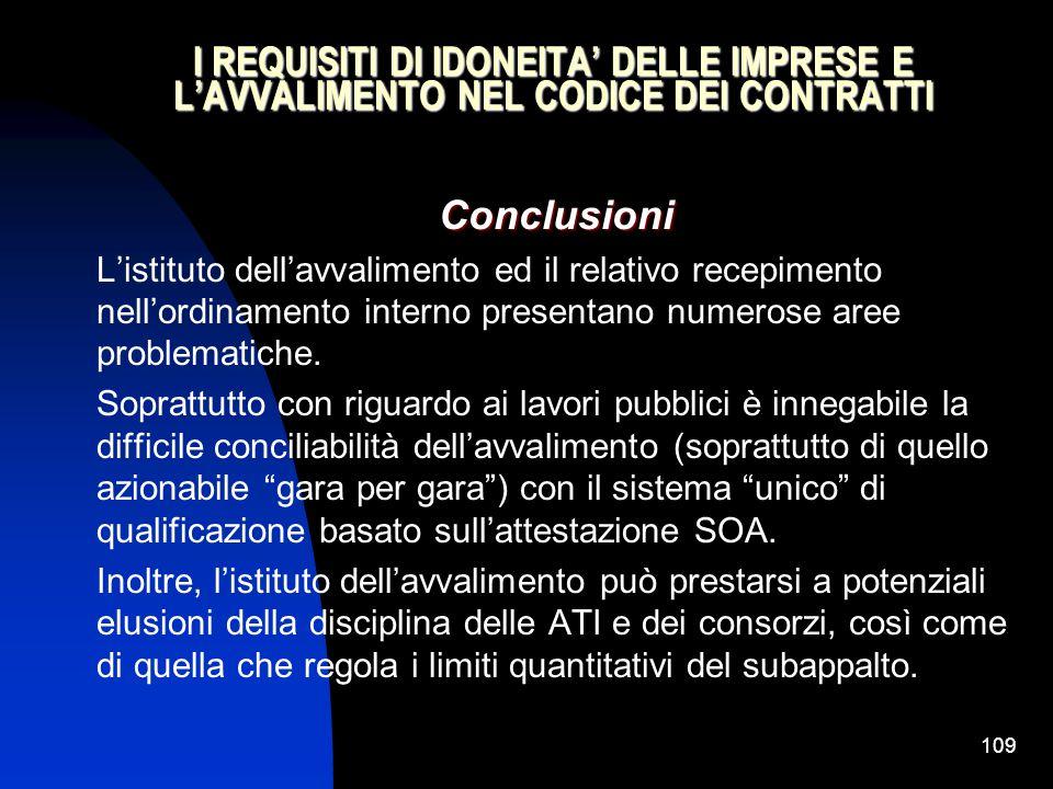 I REQUISITI DI IDONEITA' DELLE IMPRESE E L'AVVALIMENTO NEL CODICE DEI CONTRATTI