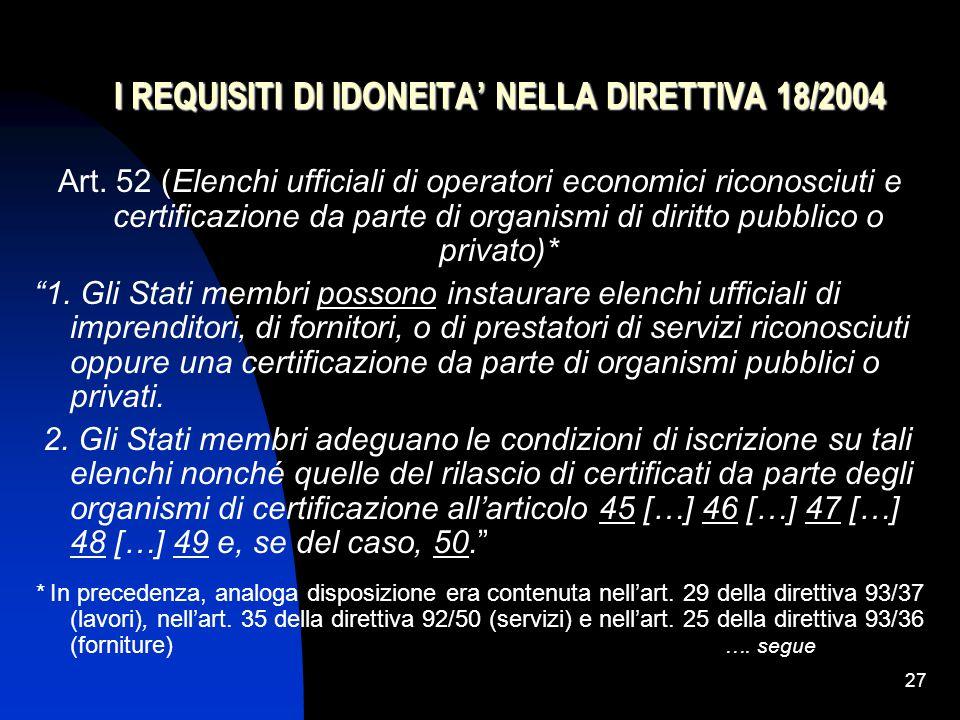 I REQUISITI DI IDONEITA' NELLA DIRETTIVA 18/2004